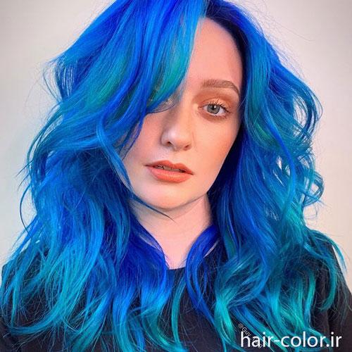 رنگ مو فانتزی ، رنگ مو آبی آمبره ، رنگ مو آبی کلاسیک ، رنگ مو آبی فیروزه ای